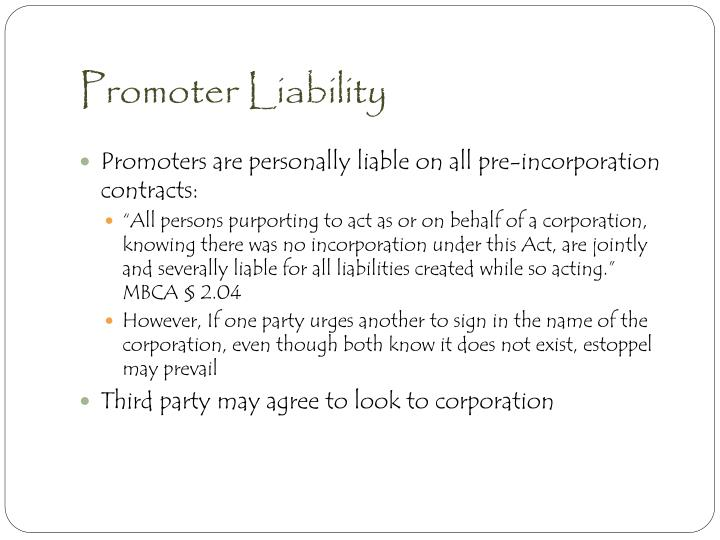 Promoter Liability