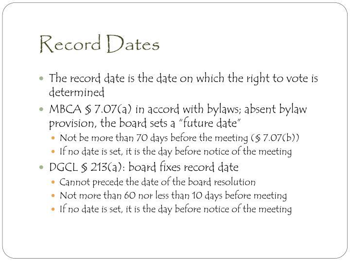 Record Dates