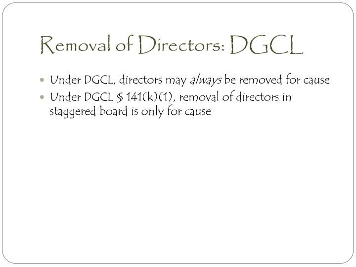 Removal of Directors: DGCL