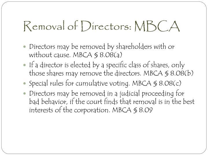 Removal of Directors: MBCA