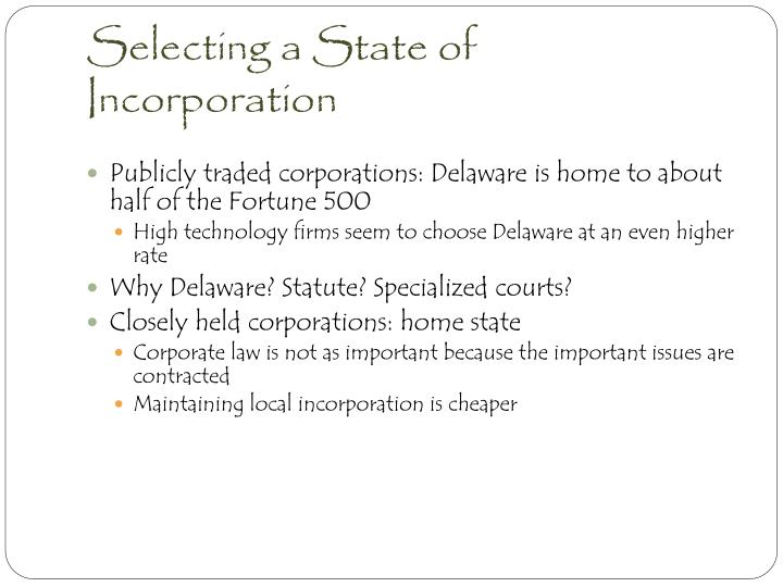 Selecting a State of Incorporation