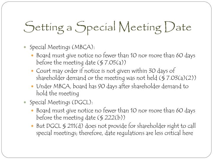 Setting a Special Meeting Date