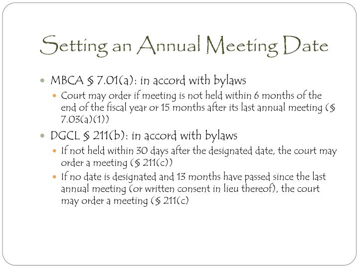 Setting an Annual Meeting Date