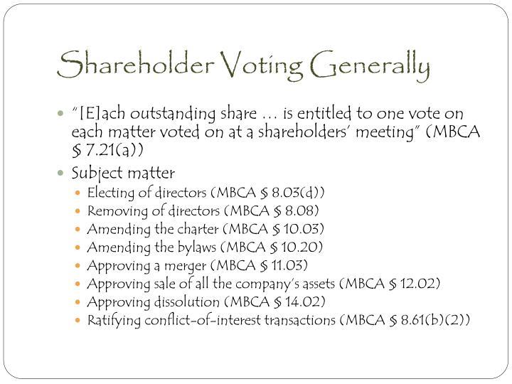 Shareholder Voting Generally