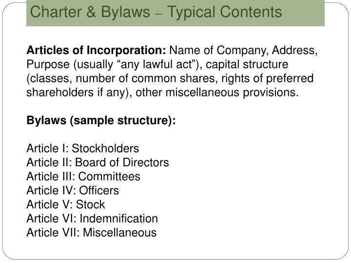 Charter & Bylaws