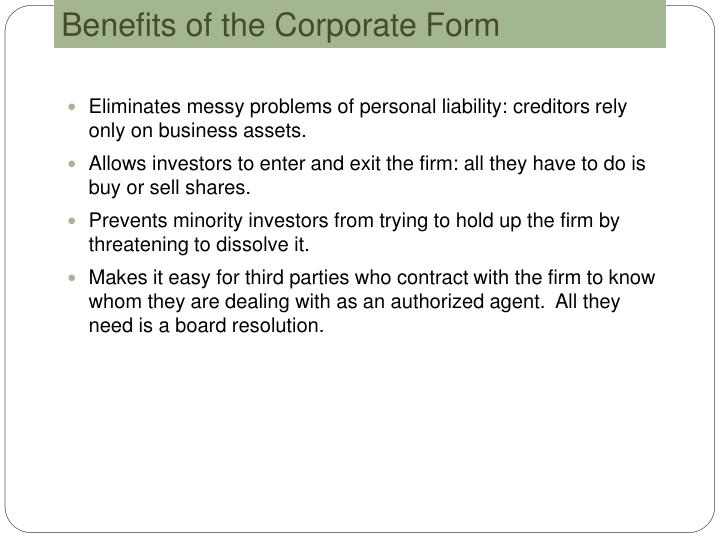 Benefits of the Corporate Form