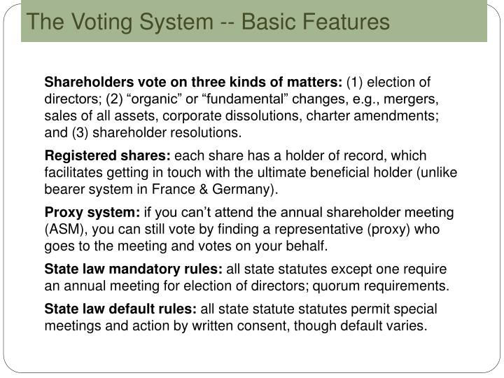The Voting System -- Basic Features