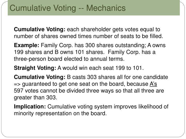 Cumulative Voting -- Mechanics
