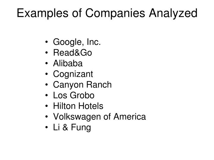 Examples of Companies Analyzed
