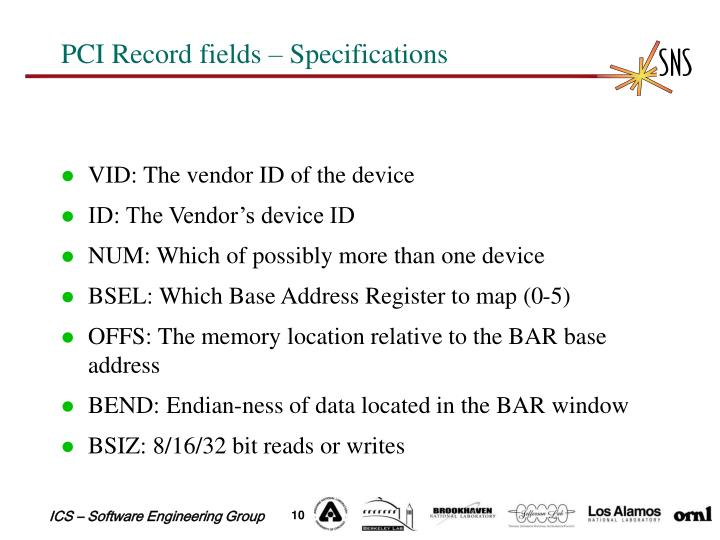 PCI Record fields – Specifications