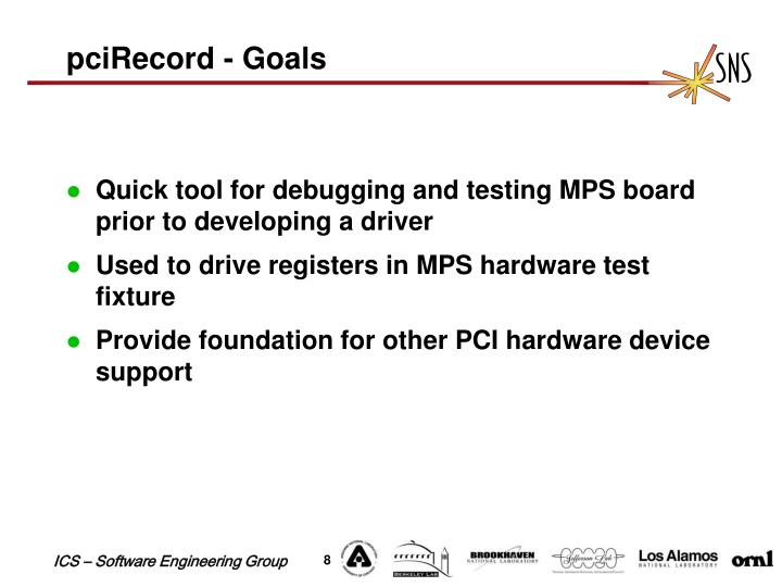 pciRecord - Goals