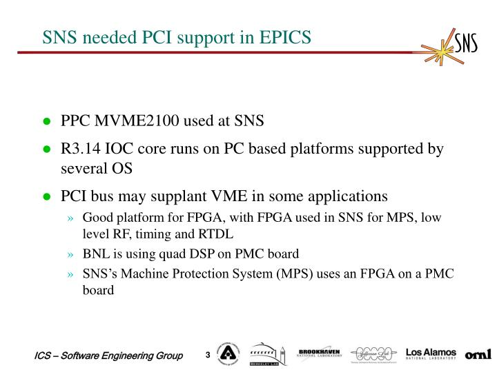 SNS needed PCI support in EPICS