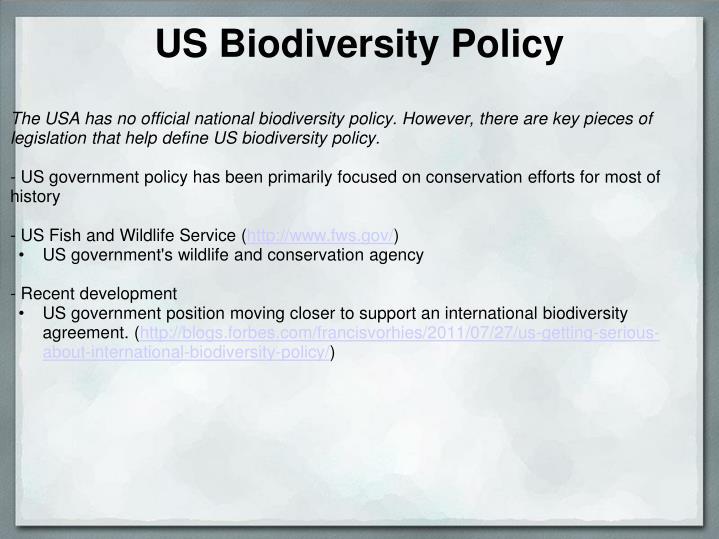 US Biodiversity Policy
