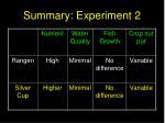 summary experiment 2