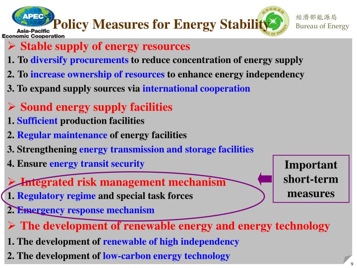 Policy Measures for Energy Stability
