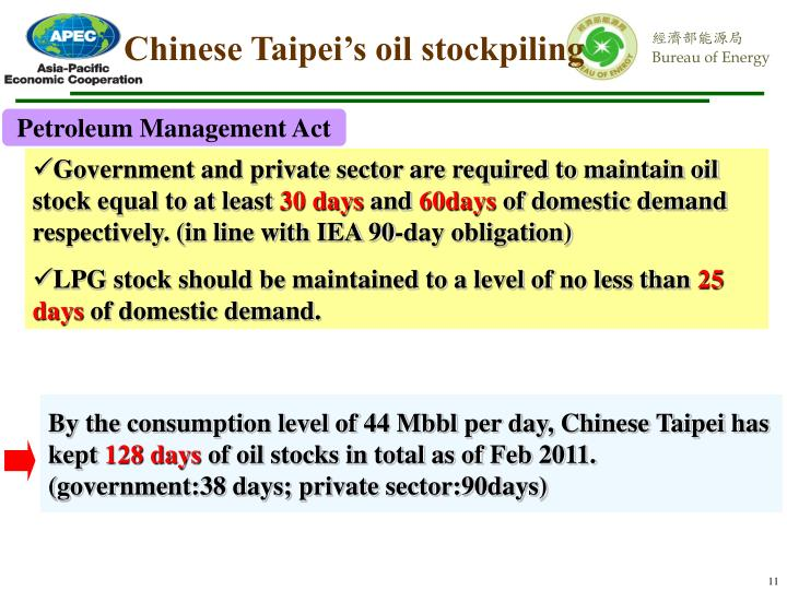 Chinese Taipei's oil stockpiling