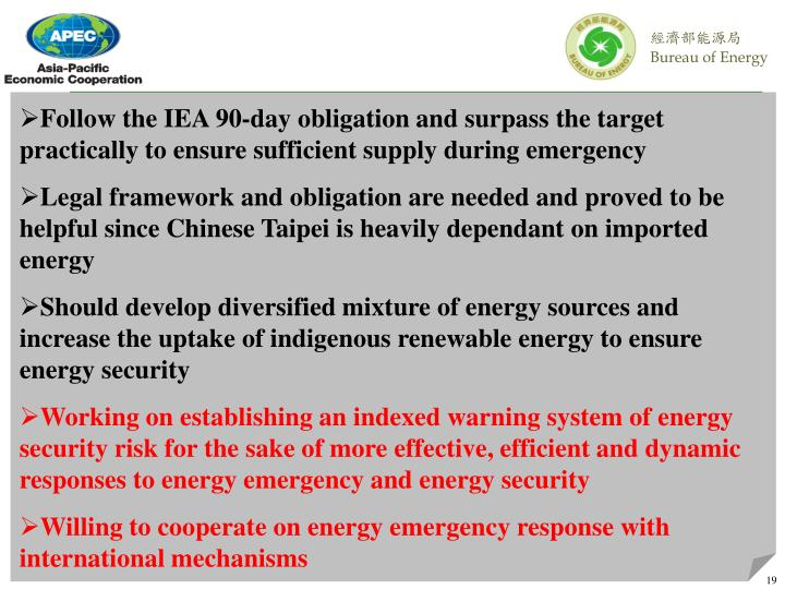 Follow the IEA 90-day obligation and surpass the target practically to ensure sufficient supply during emergency