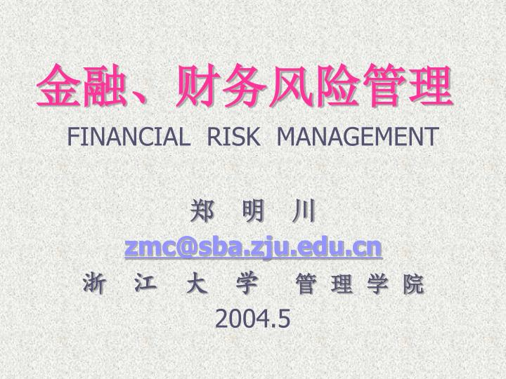 金融、财务风险管理