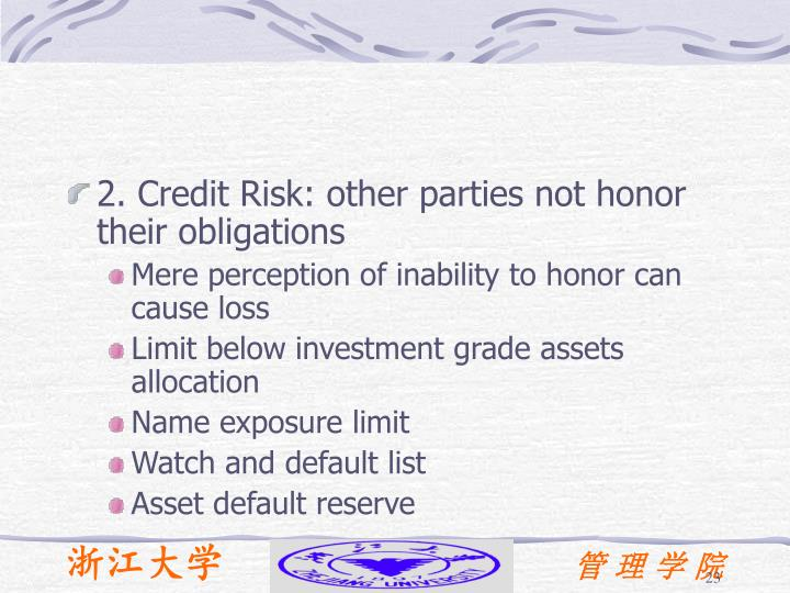 2. Credit Risk: other parties not honor their obligations