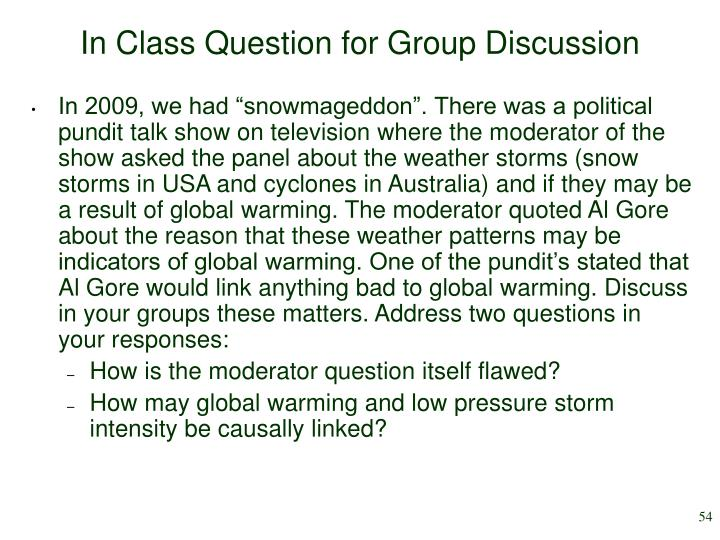 In Class Question for Group Discussion