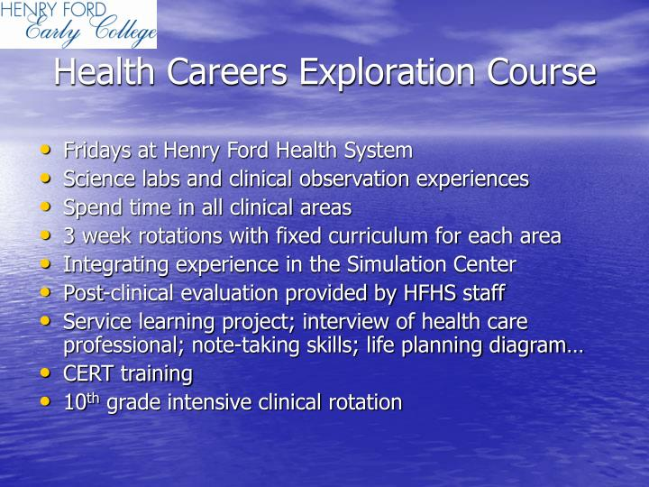 Health Careers Exploration Course