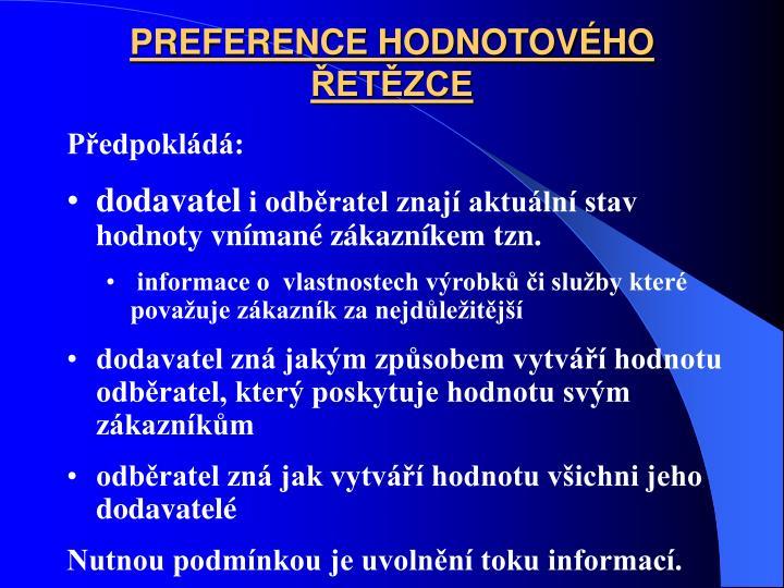 PREFERENCE HODNOTOVHO ETZCE