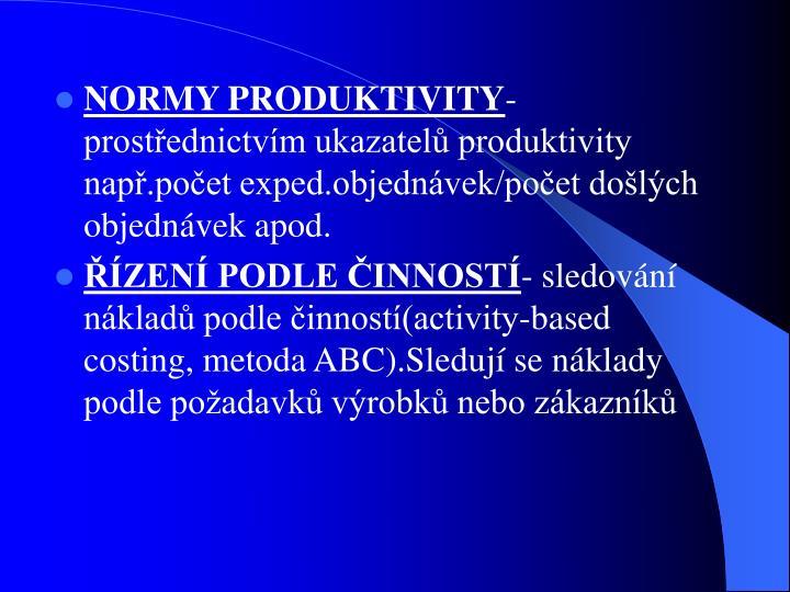 NORMY PRODUKTIVITY