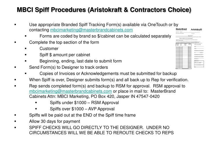 MBCI Spiff Procedures (