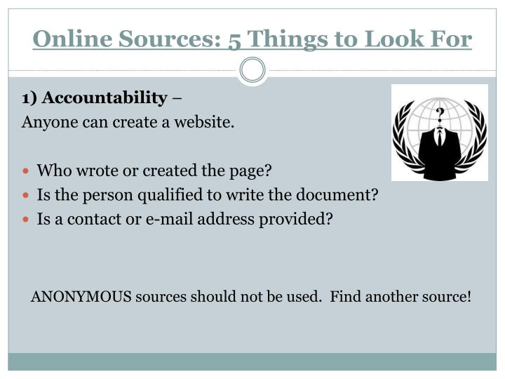 Online Sources: 5 Things to Look For