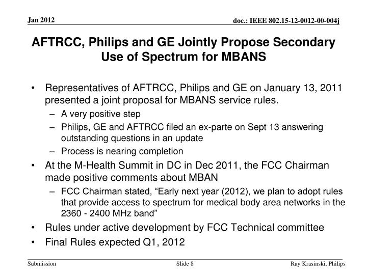 AFTRCC, Philips and GE Jointly Propose Secondary Use of Spectrum for MBANS