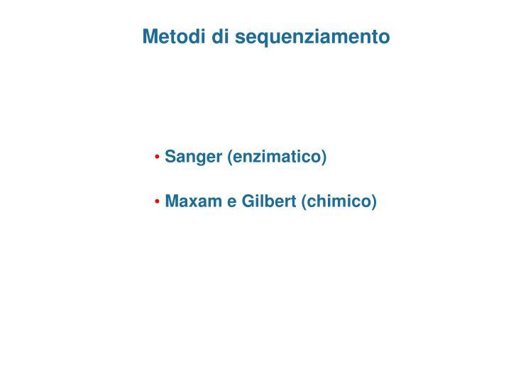 Metodi di sequenziamento