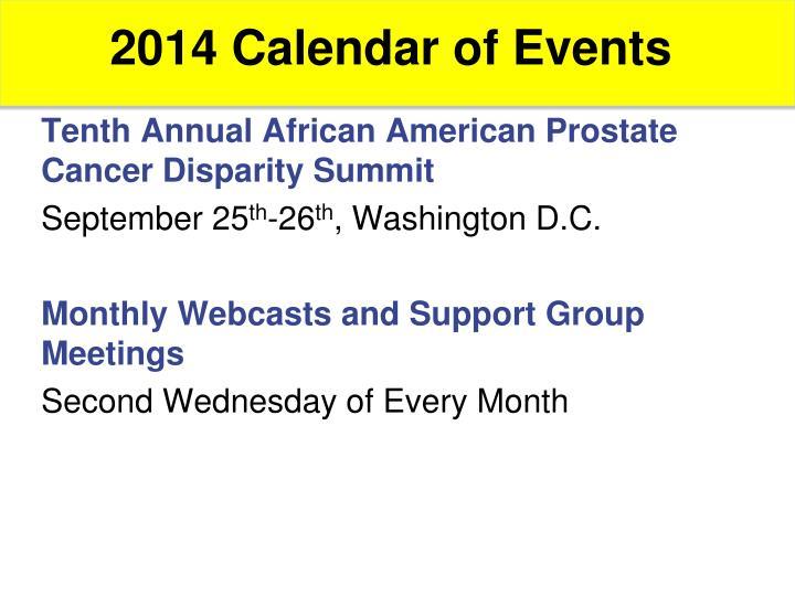 2014 Calendar of Events