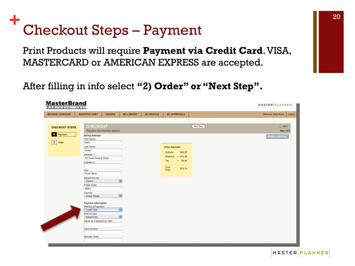 Checkout Steps – Payment
