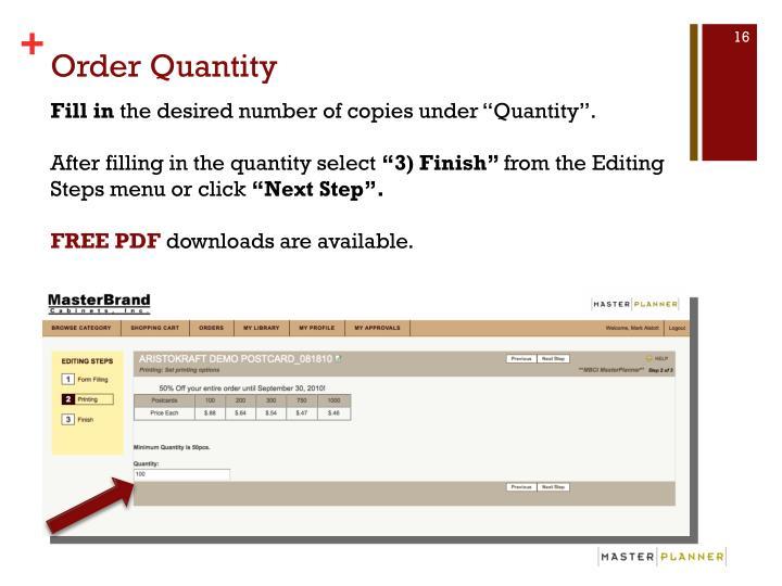 Order Quantity