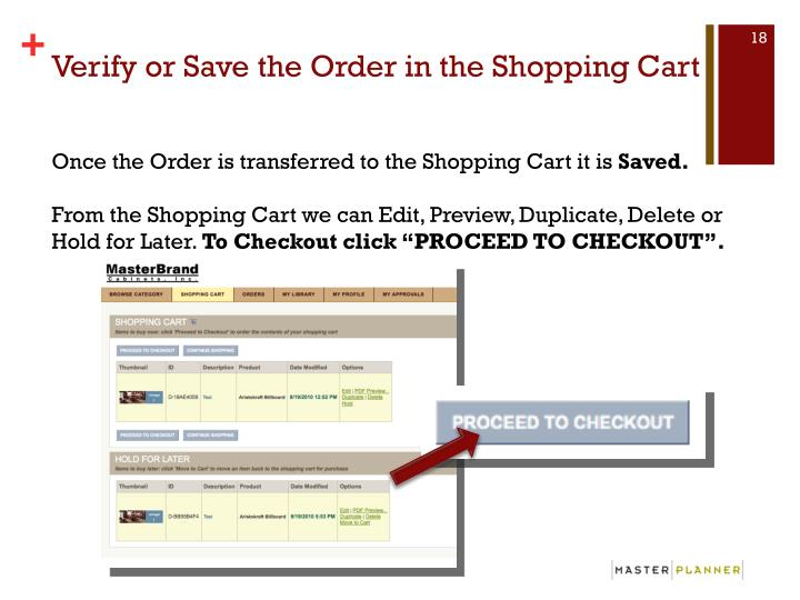 Verify or Save the Order in the Shopping Cart