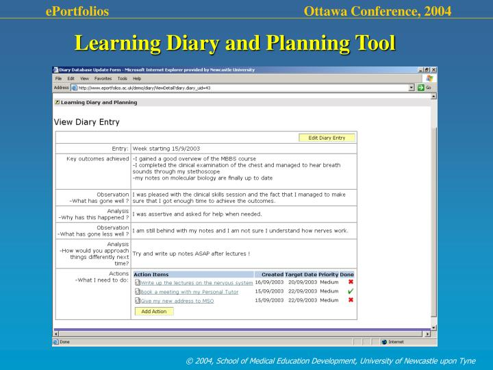 Learning Diary and Planning Tool