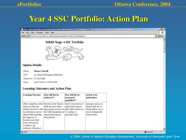 Year 4 SSC Portfolio: Action Plan