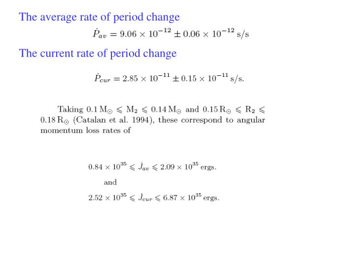 The average rate of period change