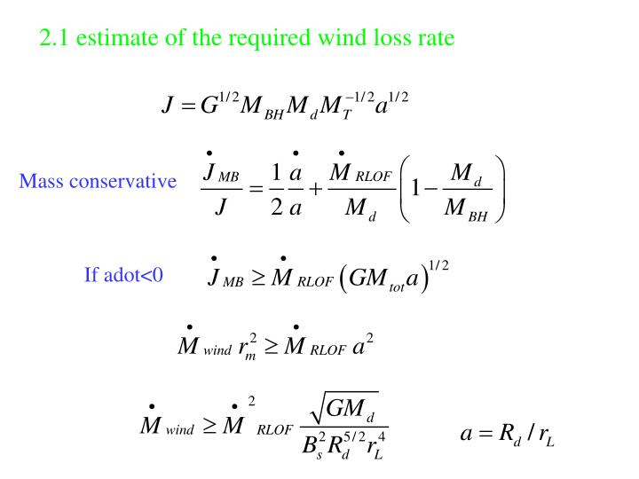 2.1 estimate of the required wind loss rate