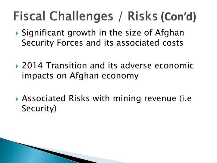 Fiscal Challenges / Risks
