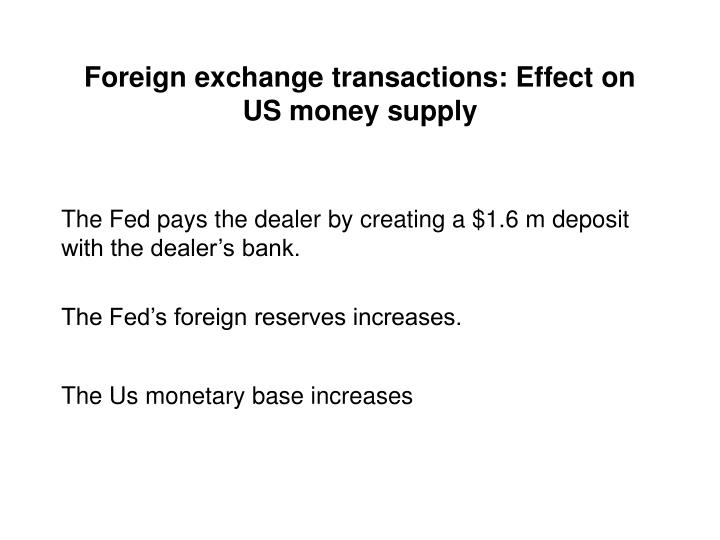 Foreign exchange transactions: Effect on US money supply