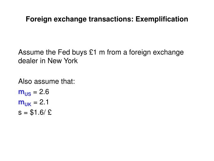 Foreign exchange transactions: Exemplification