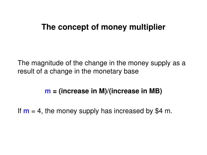 The concept of money multiplier