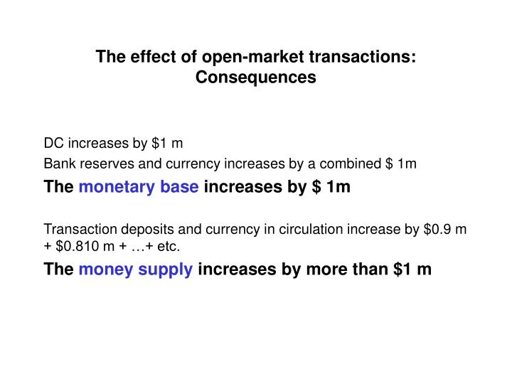 The effect of open-market transactions: Consequences