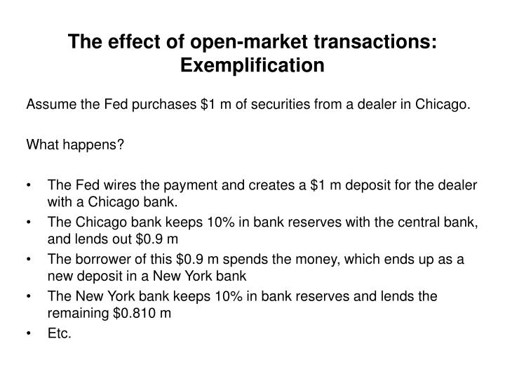 The effect of open-market transactions: Exemplification