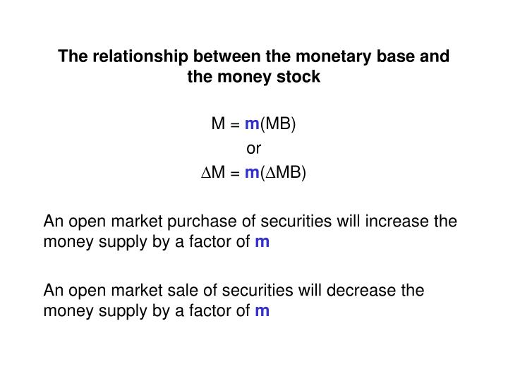 The relationship between the monetary base and the money stock