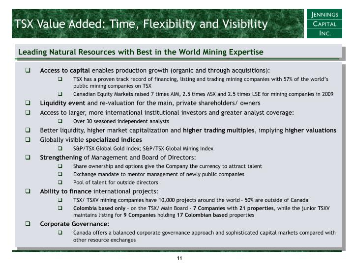 TSX Value Added: Time, Flexibility and Visibility