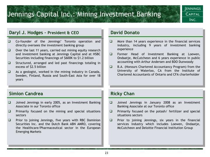 Jennings Capital Inc.: Mining Investment Banking
