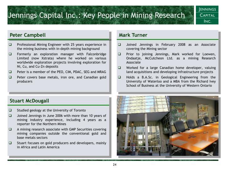 Jennings Capital Inc.: Key People in Mining Research