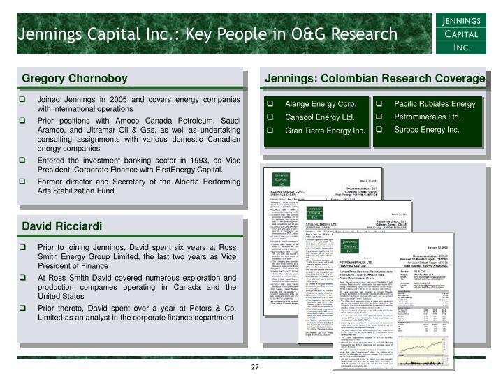 Jennings Capital Inc.: Key People in O&G Research